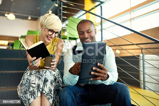 istock Two creative millenial small business owners working on social media 594460706