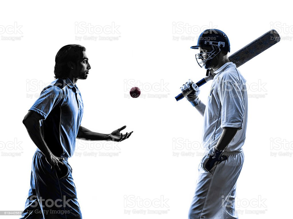 two Cricket players  silhouette stock photo