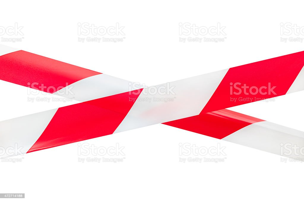 Two Crossed Barrier Tapes. stock photo