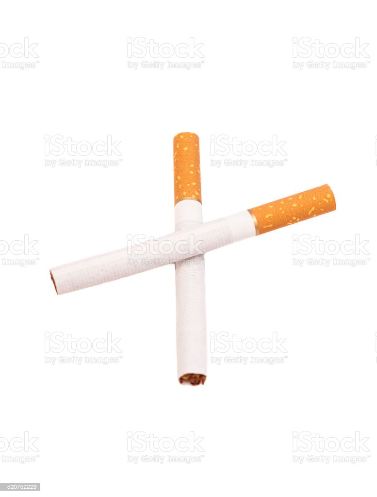 Two Crossed Cigarettes stock photo