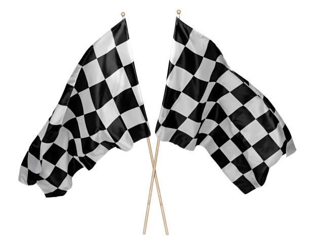 Zwei gekreuzte Paar winken schwarz weiß karierte Flagge mit Holzstab Motorsport Sport Rennkonzept isoliert Hintergrund – Foto