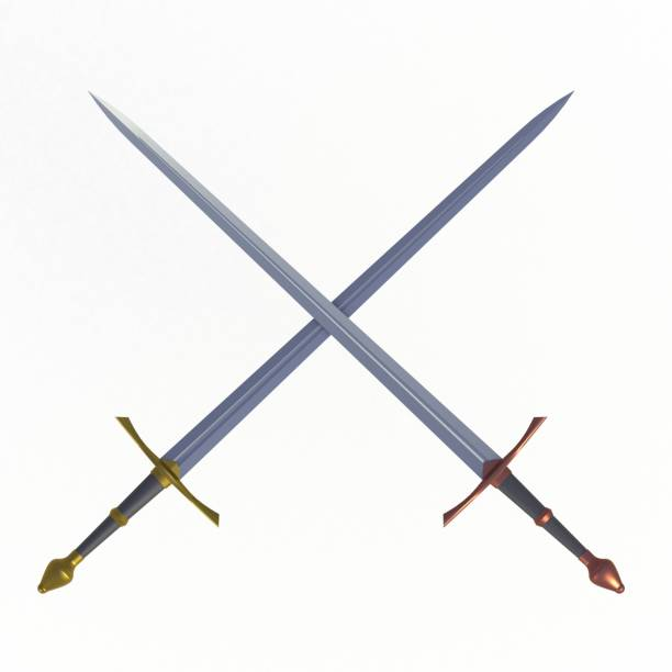 Two crossed swords, isolated on white background, 3D rendering stock photo