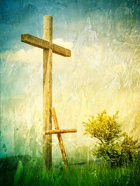 Zwei Kreuze auf einem Berg top – Foto