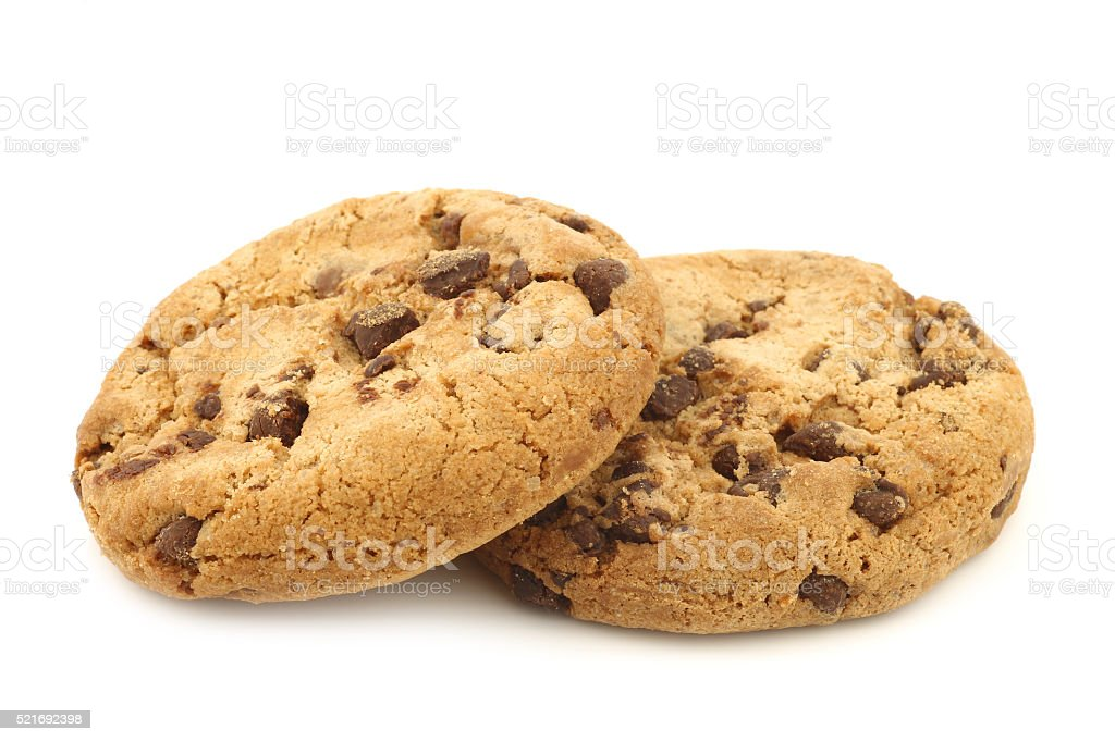 two crunchy chocolate chip cookies stock photo