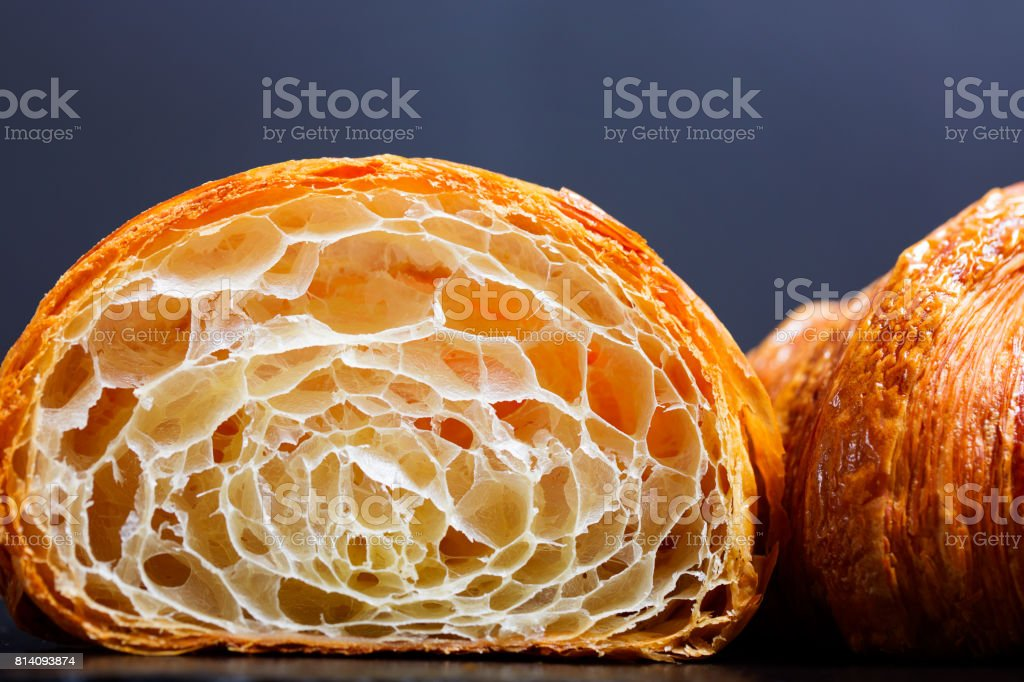 two crunchy croissants stock photo