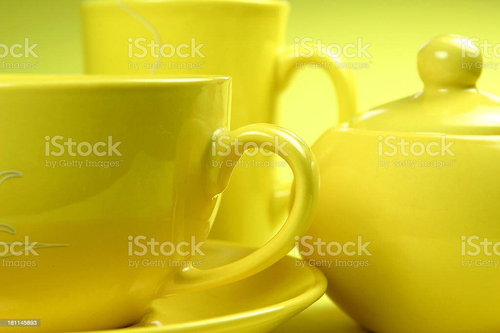 two cups and sugar bowl - breakfast royalty-free stock photo