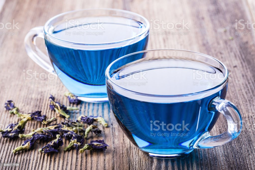 Two cups of Butterfly pea tea stock photo