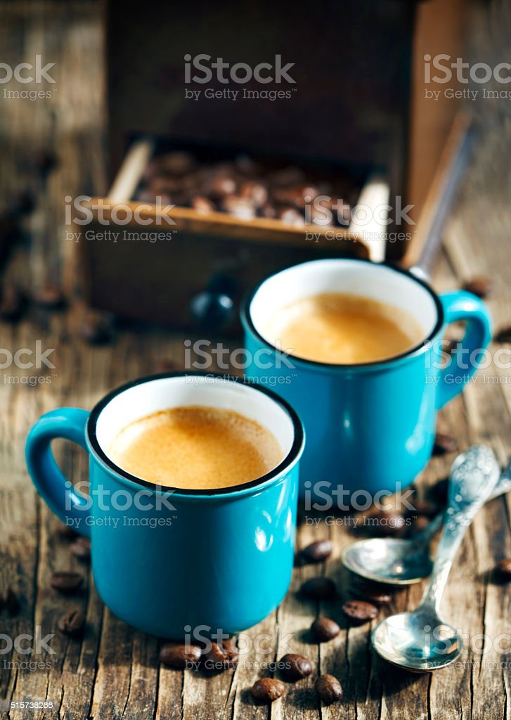 Two cups of coffee. Espresso stock photo