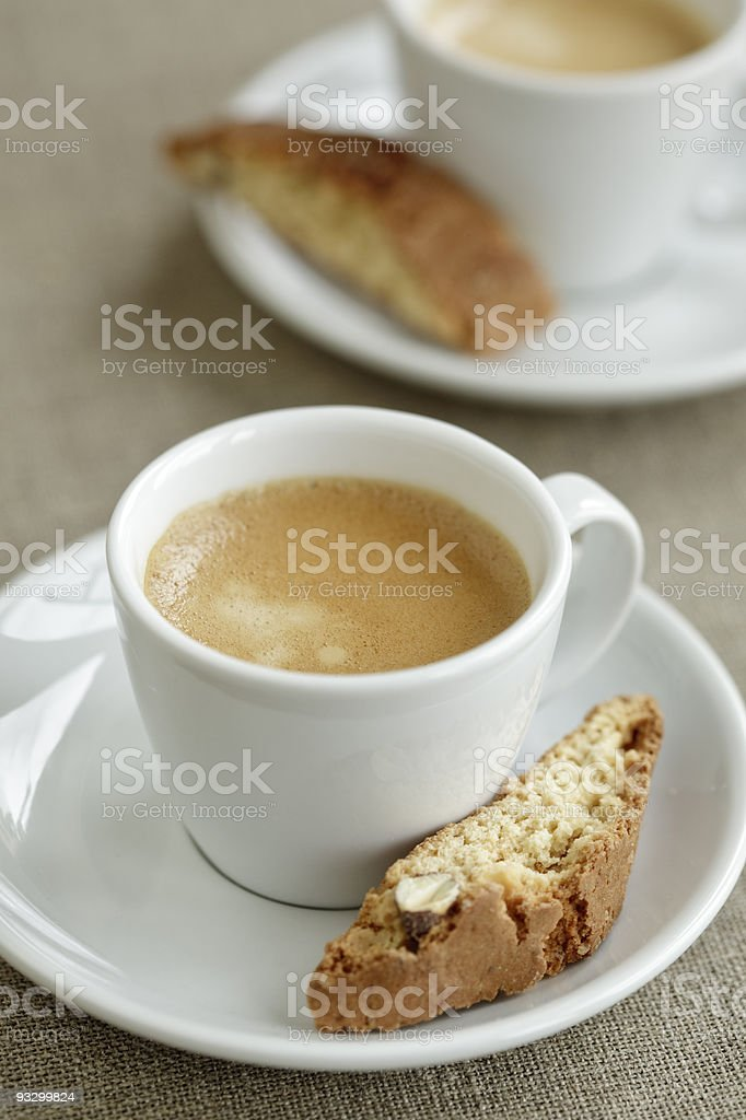 two cups of coffee with biscuits royalty-free stock photo