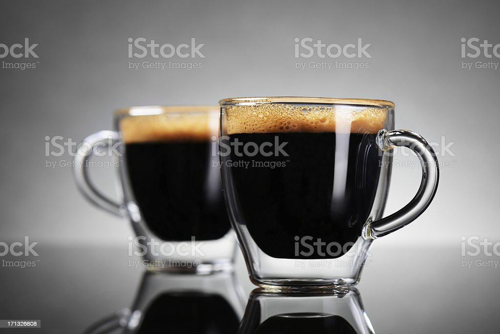 Two cups of espresso stock photo