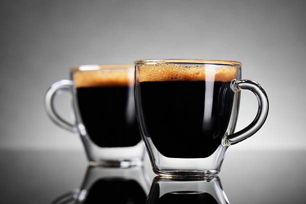 zwei tassen espresso - espresso stock-fotos und bilder