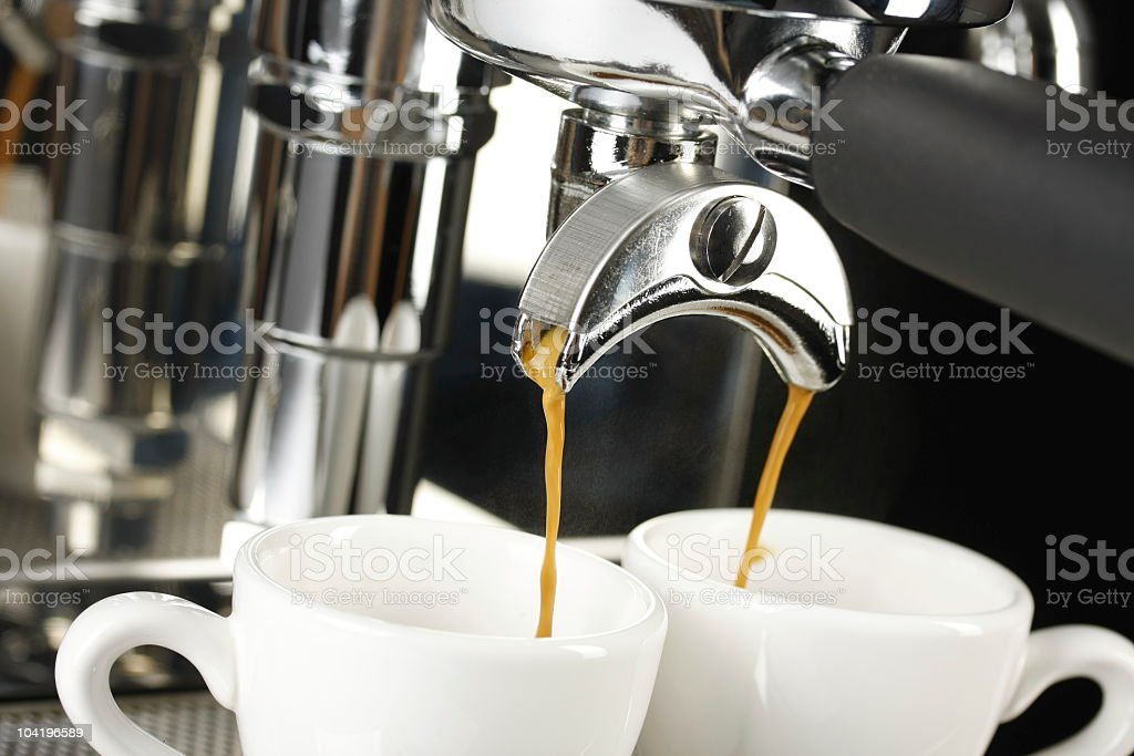 two cups of espresso shot with crema royalty-free stock photo