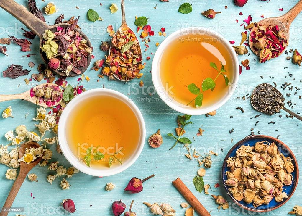 Two cups of healthy herbal tea with mint, cinnamon, dried ストックフォト