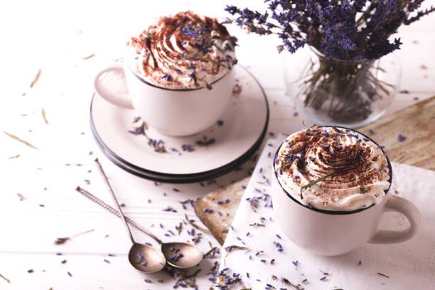 Zwei Tassen heiße Schokolade mit Schlagsahne – Foto