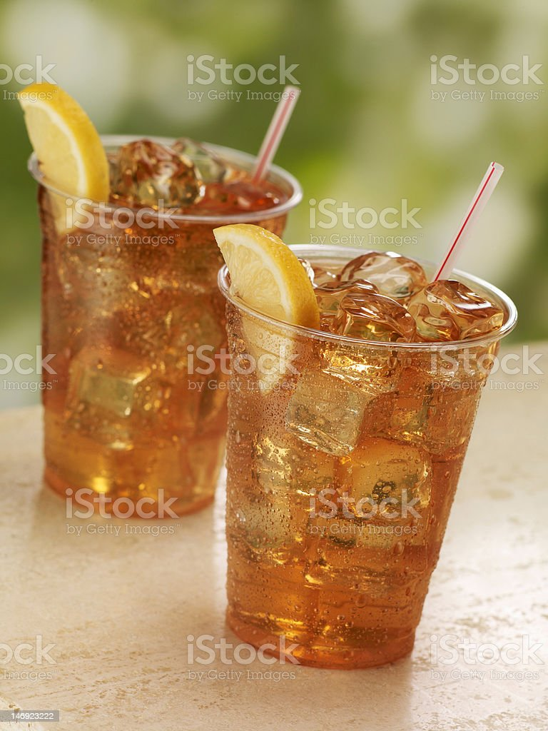 Two Cups of Iced Tea royalty-free stock photo