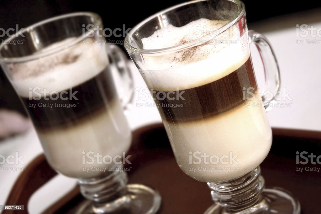 Two cups of Latte royalty-free stock photo