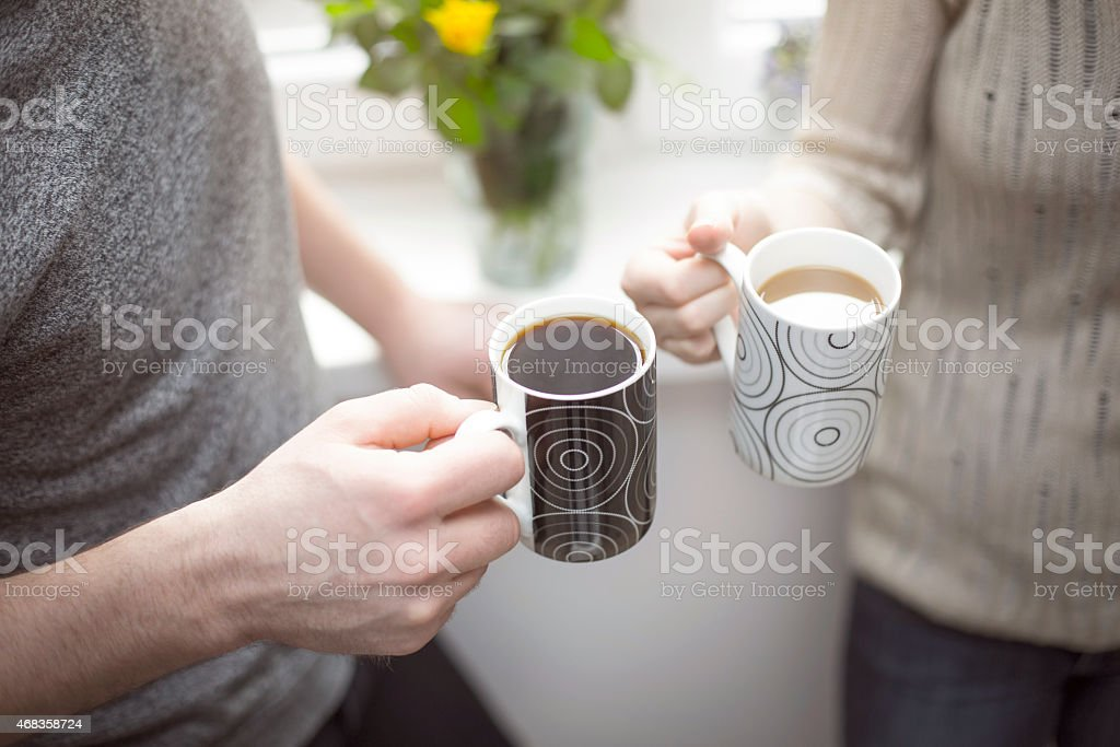 Two cups of morning coffee royalty-free stock photo