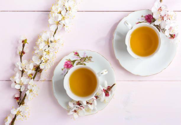 två koppar te och vår blommor (blommar av en aprikos) på en ljusrosa trä bord. - eftermiddagste bildbanksfoton och bilder