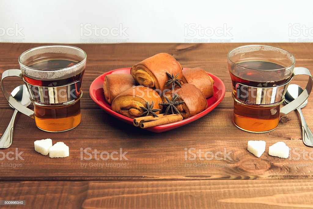 Two cups of tea glass with a metal stock photo