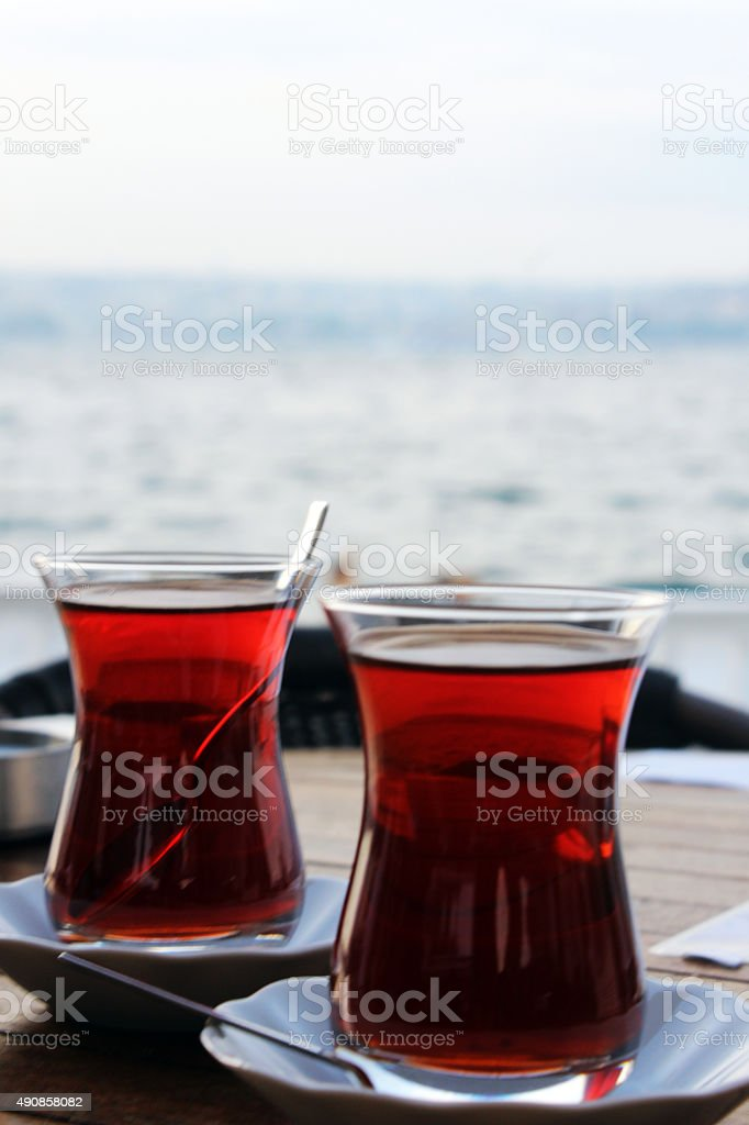 Two cups of turkish tea on a table in Istanbul