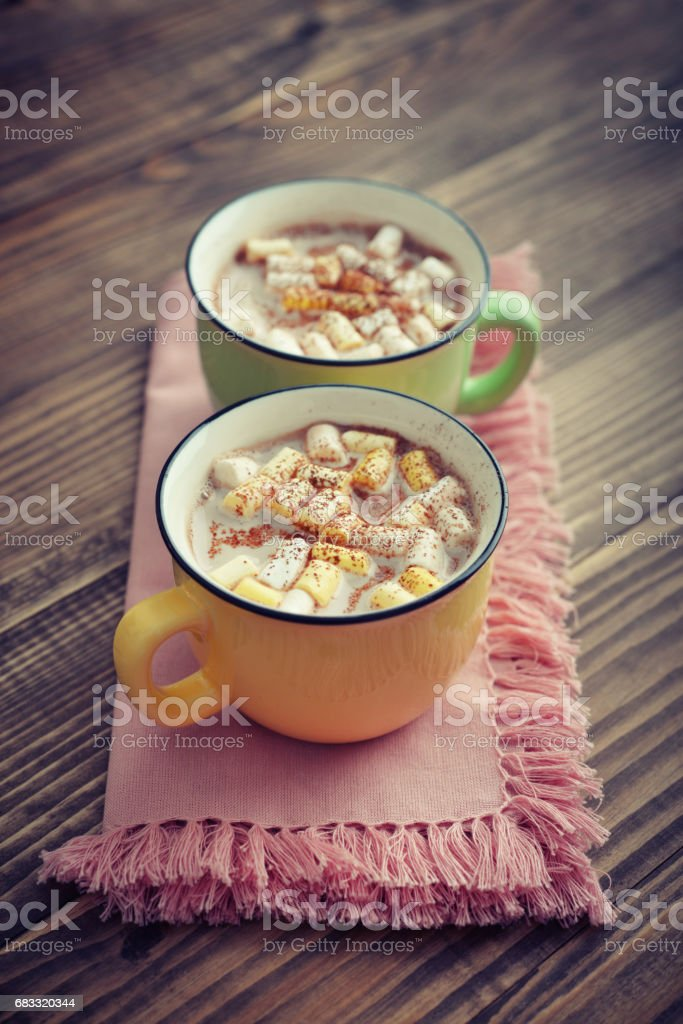 Two cups with hot chocolate royalty-free stock photo