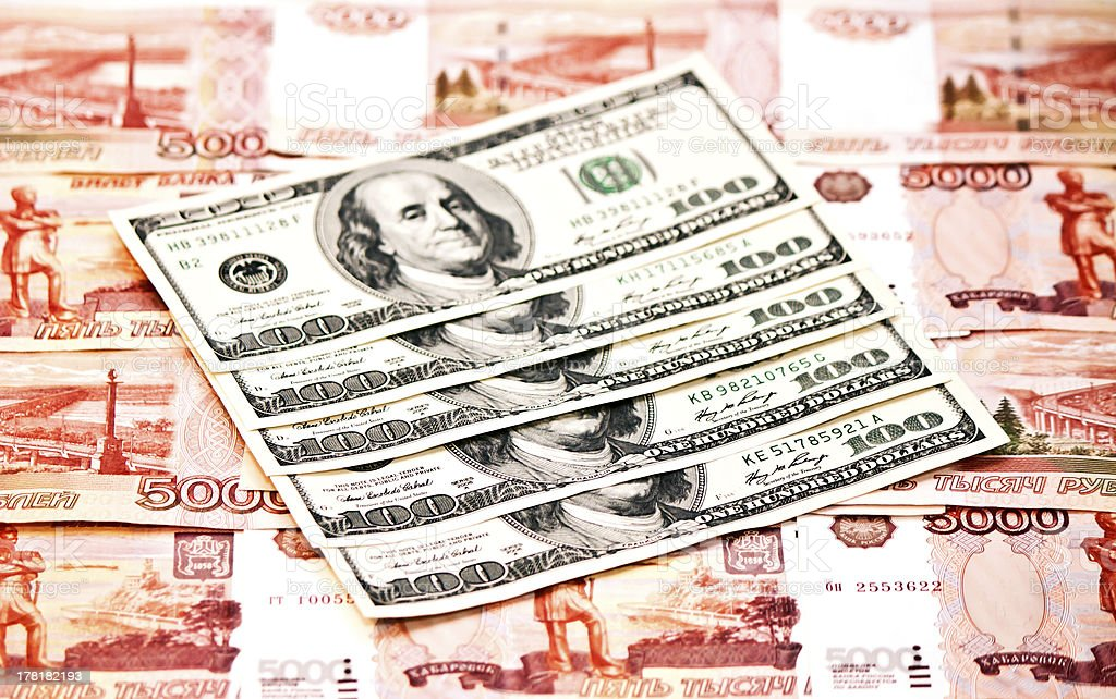 Two currencies - US Dollar and ruble stock photo
