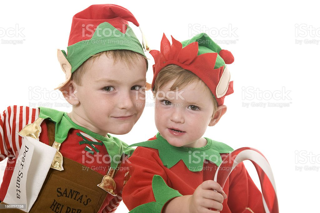 Two Cute Elves royalty-free stock photo