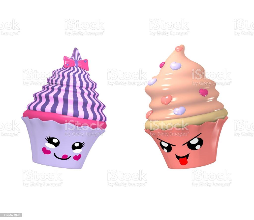 Zwei niedliche Kawaii-Charaktere als Cupcakes isoliert auf weiß. – Foto