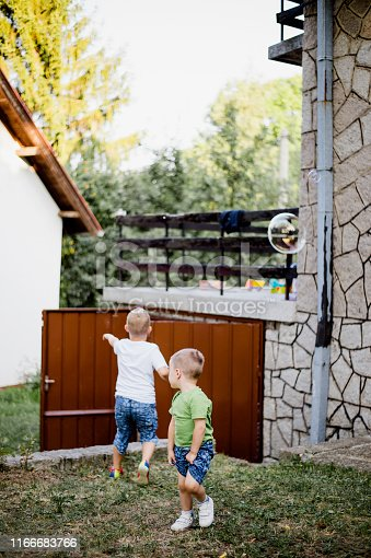 618034312 istock photo Two cute kids blowing bubbles in the front of yard 1166683766