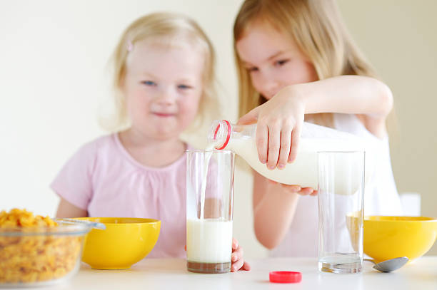 Two cute little sisters eating cereal in a kitchen stock photo