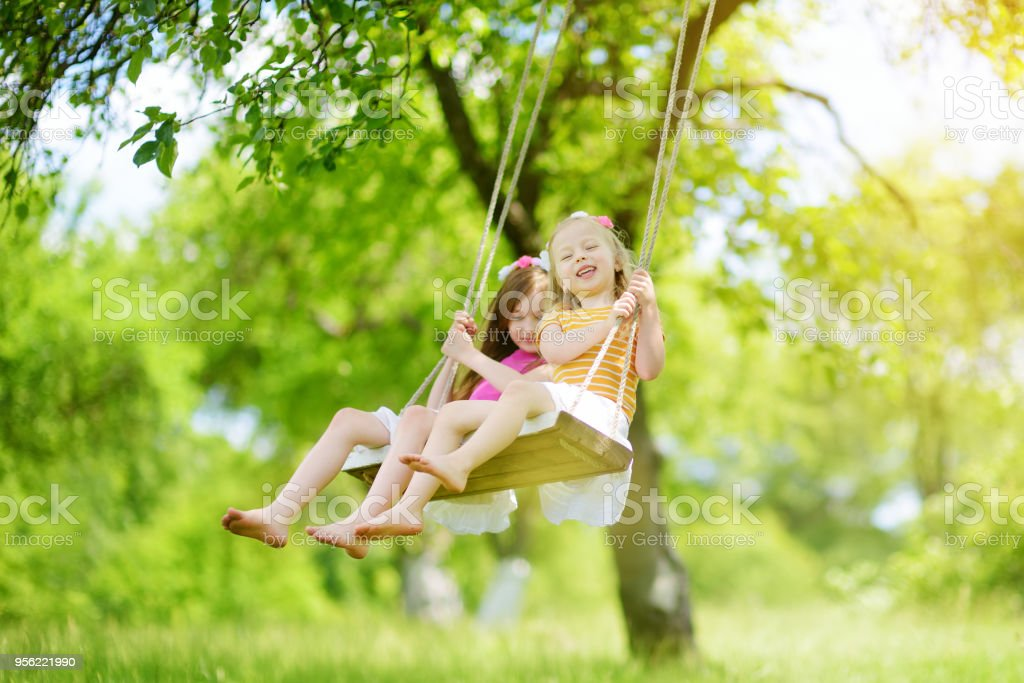 Two cute little sisters having fun on a swing together in beautiful summer garden on warm and sunny day outdoors stock photo