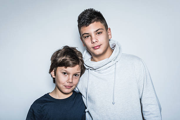 Two Cute Looking Kid  Brothers stock photo