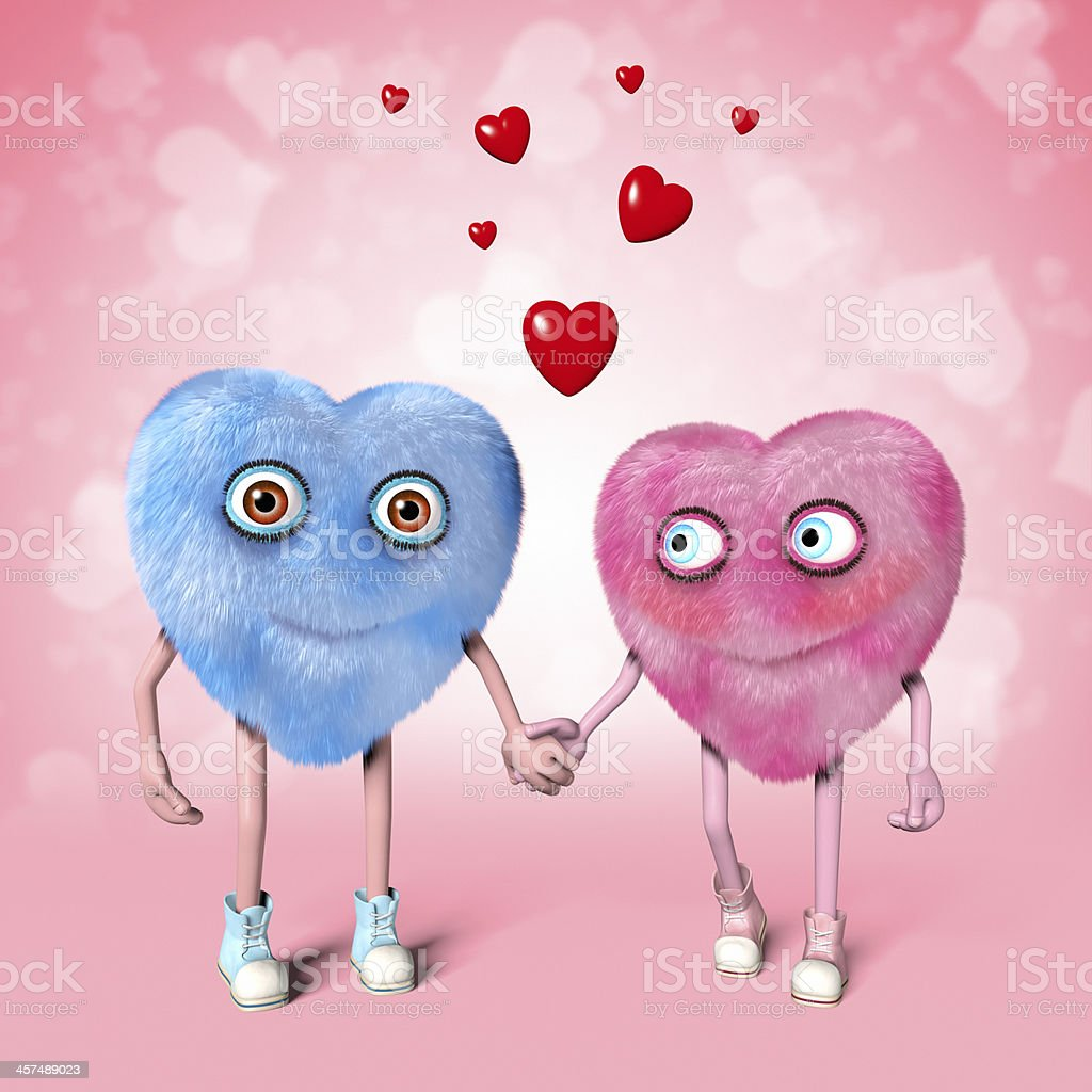 Two cute Valentine characters holding hands royalty-free stock photo