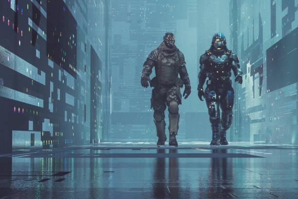 Zwei Cyborg-Soldaten zu Fuß in futuristischen Stadt – Foto