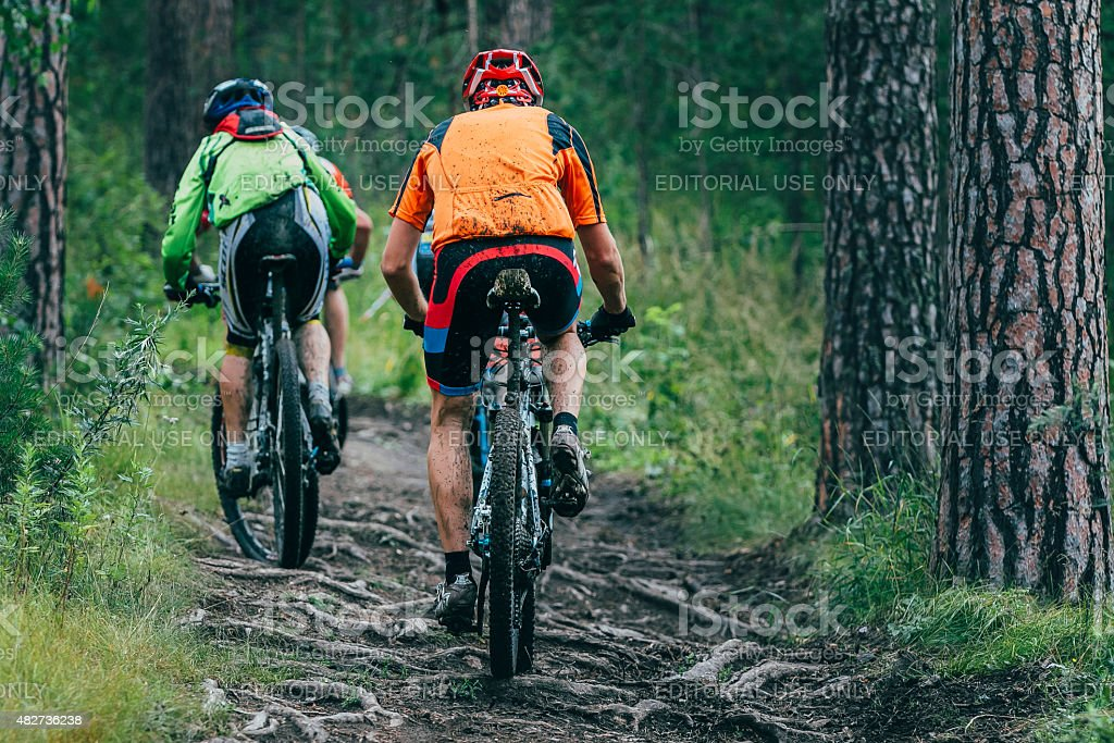 two cyclist  mountainbiker during a race in the woods stock photo
