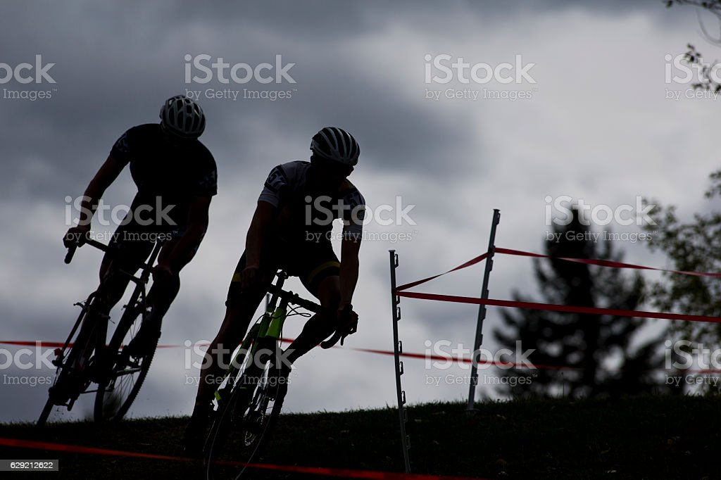 Two Cyclo-Cross Racers stock photo