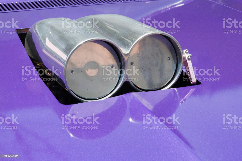 Two Cylinder Air Intake On A Purple Muscle Car Stock Photo More