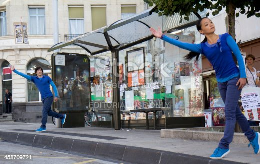 istock Two dancers are waiting for a bus 458709721