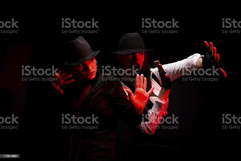 Two dancers doing a performance stock photo