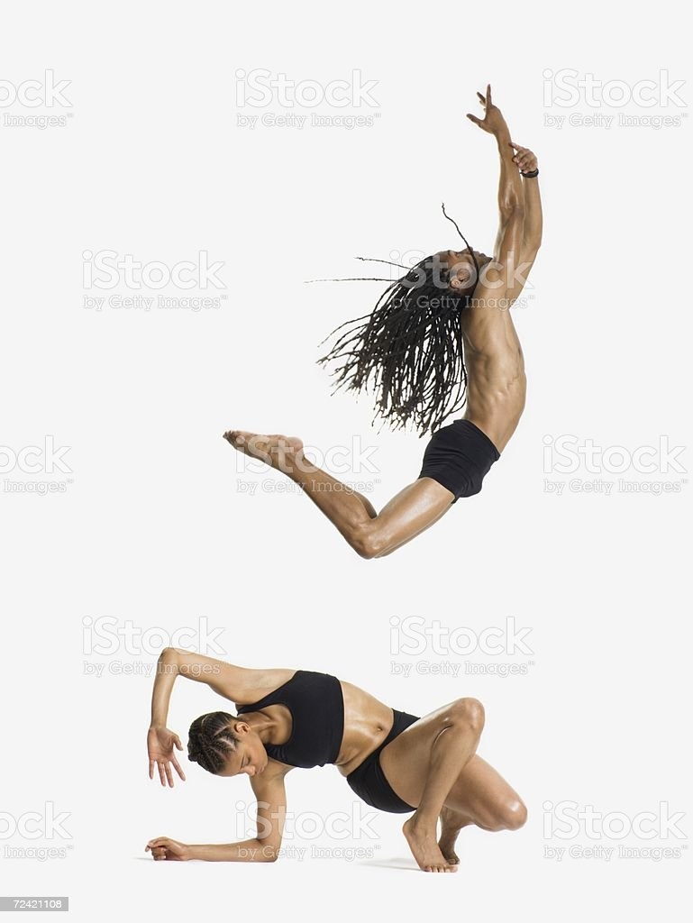 Two dancers performing stock photo