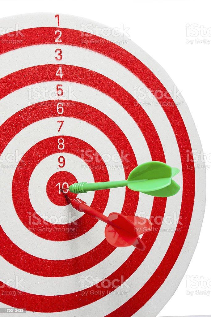 two dart hitting a target royalty-free stock photo