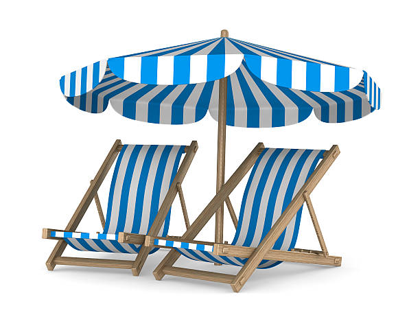 two deckchair and parasol on white background. isolated 3d image - dawdle stock pictures, royalty-free photos & images