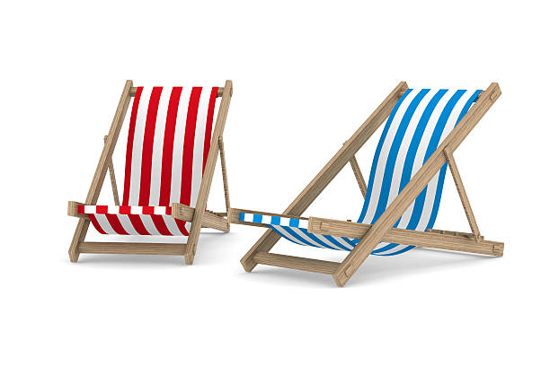 two deckchair on white background. isolated 3d image - dawdle stock pictures, royalty-free photos & images