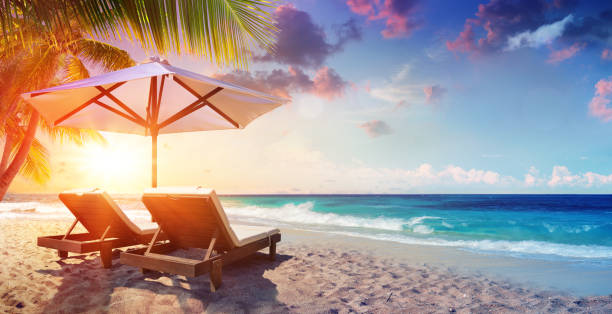 two deckchairs under parasol in tropical beach at sunset - beach stock pictures, royalty-free photos & images