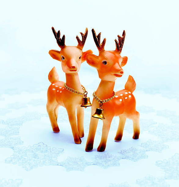Two Deer Wearing Bells stock photo