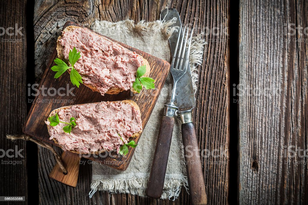 Two delicious sandwich made of pate with parsley – Foto