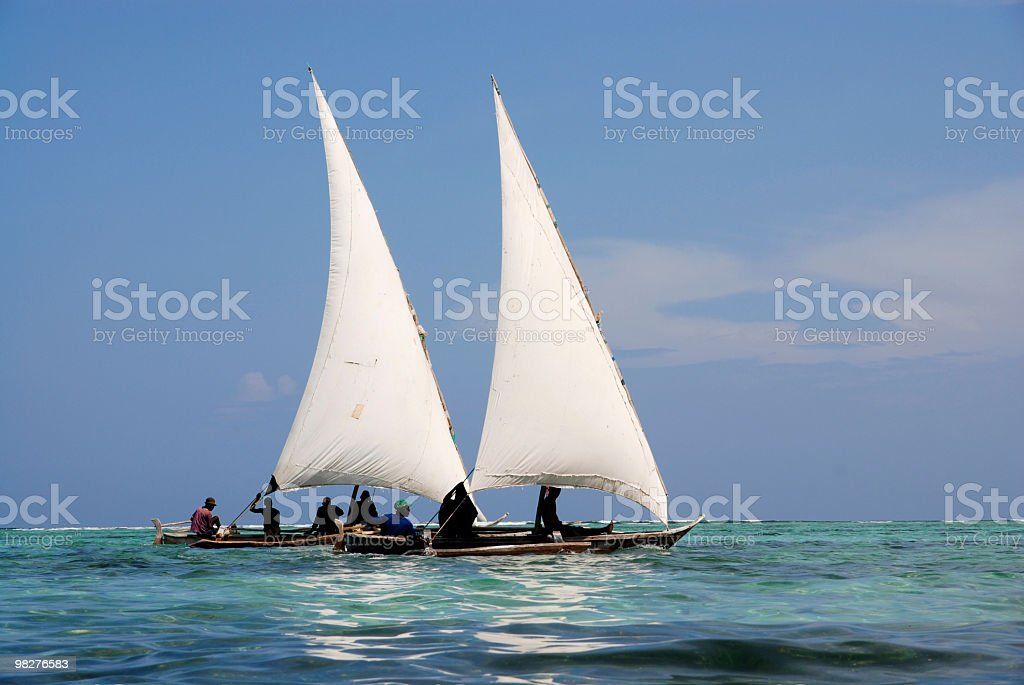 two dhows in beatiful indian sea royalty-free stock photo