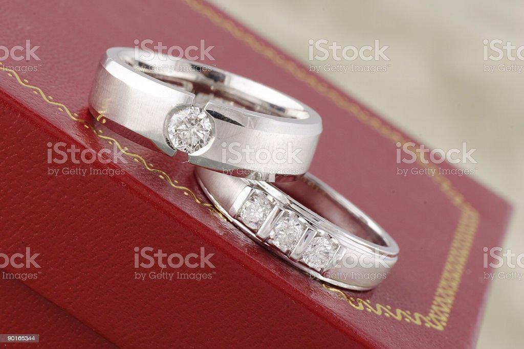 Two Diamond Rings royalty-free stock photo