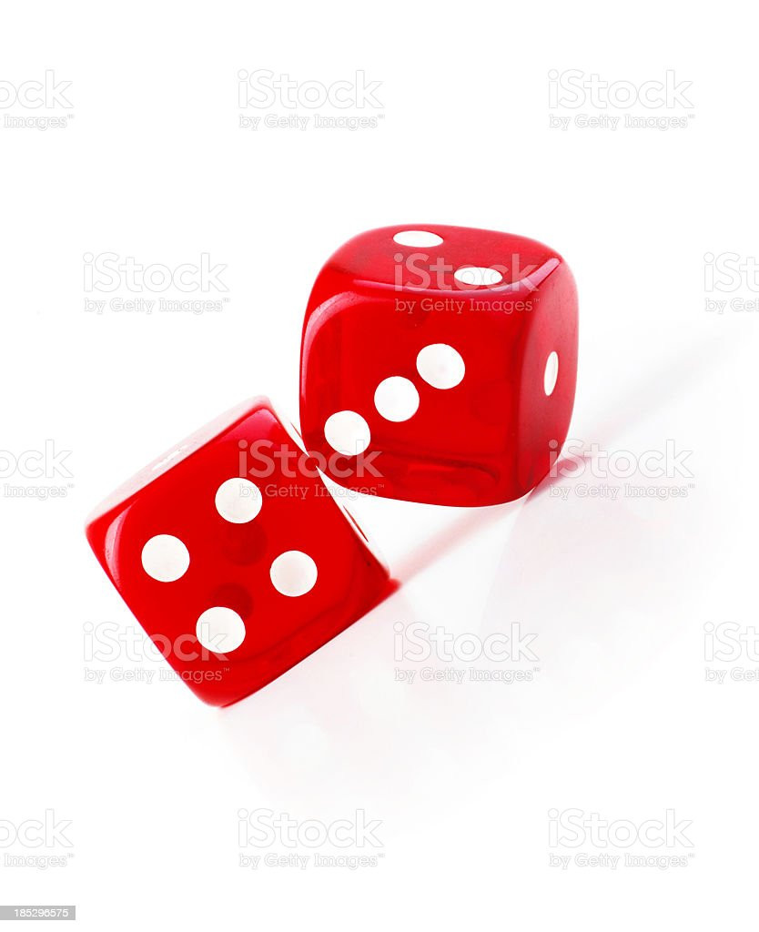 two dice on white background royalty-free stock photo