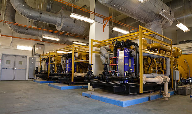 Two Diesel Power Generators in Industrial Facility stock photo